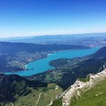 The view as we were going up. Lake Annecy.