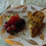 delicious quiche and side of fruit