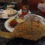 fried whole flounder