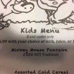 kids menu is 8 & under!