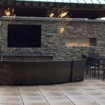 outdoor fireplace and TV. great place to lounge
