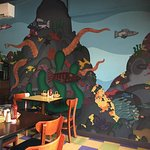 Great painted mural of sea creatures and good menu!