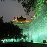 Outside of city wall at night
