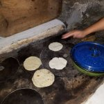 tortilla making with the staff