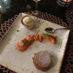 Beautiful desert at Nektar a lagoonside restaurant connected to the onsite Cirque de Soliel venu