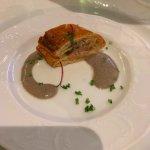Duck tart with truffle sauce