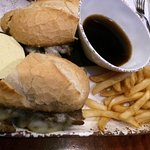 Ribeye sandwich with horsey sauce and au jus