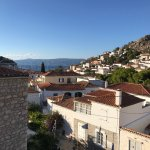 View from Hotel Mistral's rooftop terrace of port, Hydra