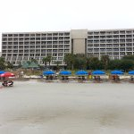 View of the Hotel from the beach at low tide.