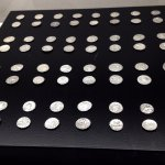 Display of coins inside museum