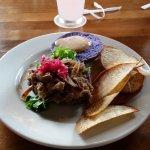 Kalua Pork Sandwich with homemade Taro Chips