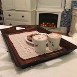 How about some hot chocolate and cookies in front of your beautiful fireplace?