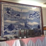 Whaling tile picture above breakfast table