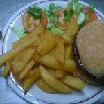 1/4 Pound Beef burger with chips,  fired onions and salad garnish