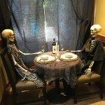 Us at dinner. Okay Halloween, I should be so skinny :)