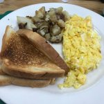 2 eggs scrambled, toast, home fries