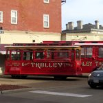trolleys parked at the corner of Main St. & Warren St.