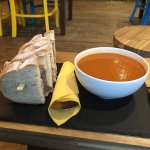 Just the best soup and sandwich beef with butternut and red pepper soup
