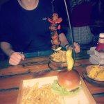 Burger and pork kebab