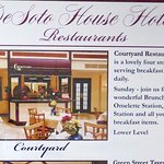 Courtyard Restaurant information at the DeSoto House Hotel
