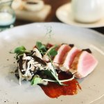 seared yellow fin tuna, miso fried eggplant, pickled asian mushrooms