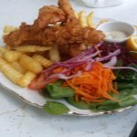 Flathead fillets, chips and salad.