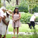 Shafia givin g her best shot at Croquet.