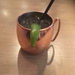 Mule Signature drink in a copper cup. Cute.