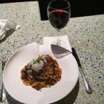 Bolognese over Tagliatelle paired with a surprisingly good Texas red!
