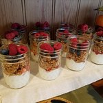 Cute and delicious yogurt parfaits at the breakfast buffet