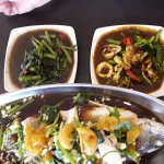 steam fish, fried kangkung and fried squid