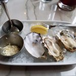oysters with mignonette and shaved horseradish