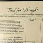 information on the Woodlands Restaurant in the room information handbook