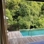 Rainforest villa pool, View from bed.