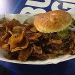 Big line, big price, average pulled pork sandwich.