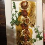 Pan seared scallops, fennel puree, chorizo, chilli & lime butter