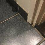Numerous broken floor tiles