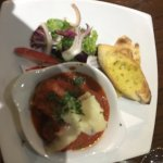 Spiced Beef Meatballs, with Napoli sauce and fresh parmesan, toasted garlic ciabatta
