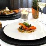 Carpaccio von der Jakobsmuschel | Pack Choi | Austernpilz | Passionsfruchtmarinade | Süßkartoffe