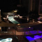 Pools at night from balcony