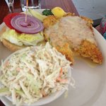 hogfish sandwich with side of coleslaw