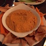 Roasted Red Pepper & Garlic hummus with house made corn chips