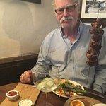 Lamb kebab, suspended on a hook