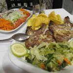 Grilled pork chops an mixed salad...one order of each to share.
