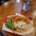 Poblano Green Chili Burger with curly fries