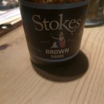 Serves Stoke brown sauce. Unusual, but nice,  condiment.