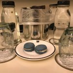 complimentary turn down service amenity: handmade macaroons, bottled water filtered in TX