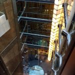 looking down the elevator from the fifth floor