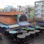 The view from the balcony:  The central town market