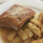 Generous serve of pork belly and chips